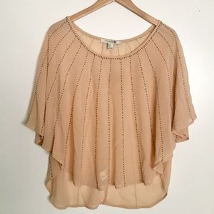F21 Sheer Blush Blouse with Beading